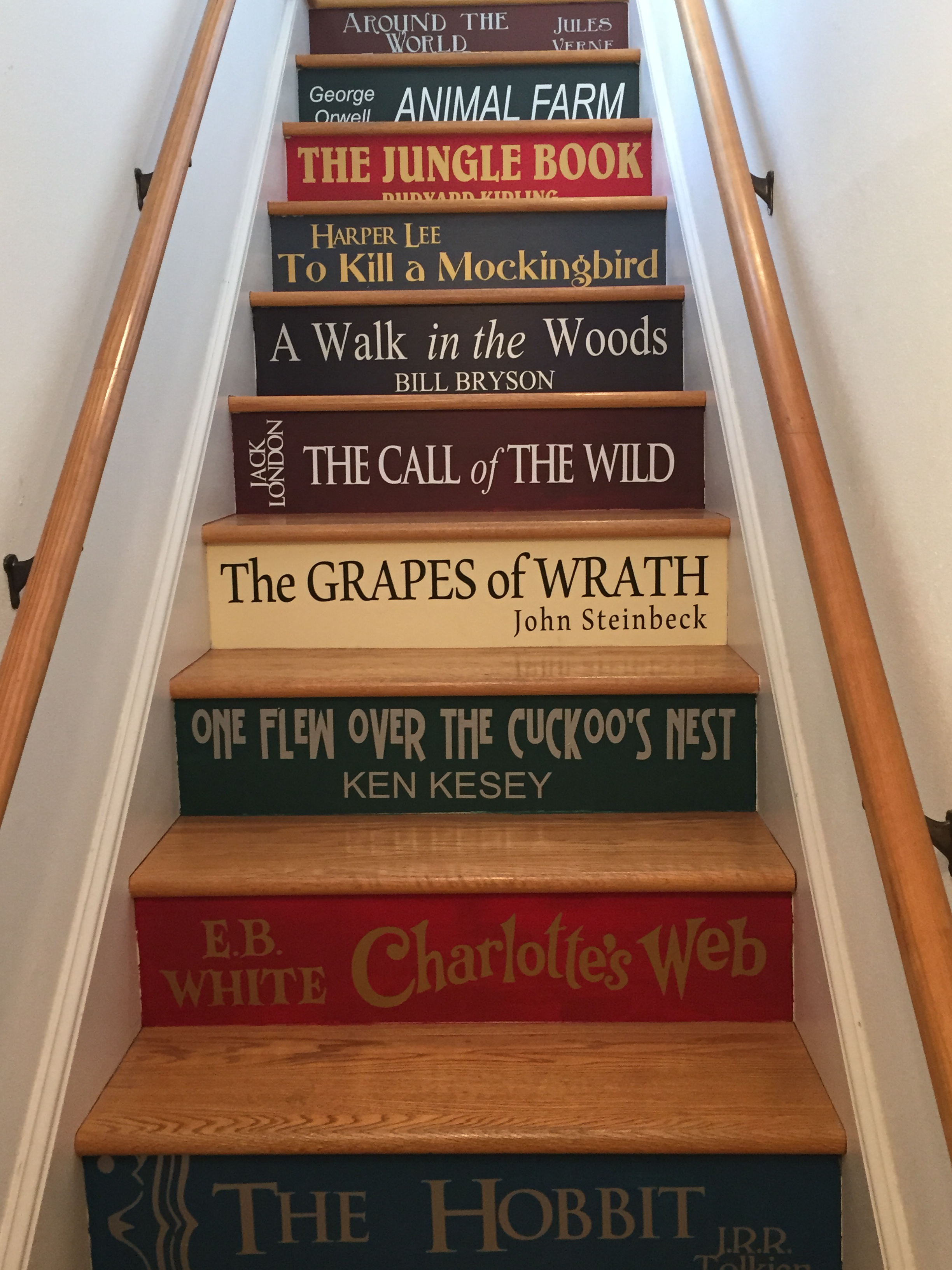 Vinyl Lettering For Diy Book Stairs